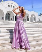 A-Line V-neck Floor-Length Charmeuse Prom Dresses With Ruffle (018109300)