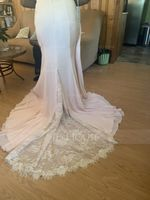 Trumpet/Mermaid Off-the-Shoulder Court Train Chiffon Lace Prom Dresses With Beading Sequins (018116381)