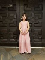 A-Line/Princess V-neck Floor-Length Chiffon Junior Bridesmaid Dress With Ruffle (268177158)