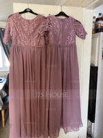 A-Line Scoop Neck Floor-Length Chiffon Lace Junior Bridesmaid Dress (009208599)