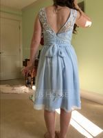 A-Line/Princess Scoop Neck Knee-Length Chiffon Lace Bridesmaid Dress With Sequins Bow(s) (266183081)