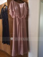 Chiffon Bridesmaid Dress With Ruffle Split Front (266203989)