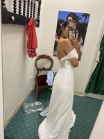 Trumpet/Mermaid Off-the-Shoulder Court Train Chiffon Lace Wedding Dress With Beading Sequins (265218274)
