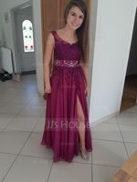 A-Line V-neck Floor-Length Chiffon Evening Dress With Beading Sequins (017167689)