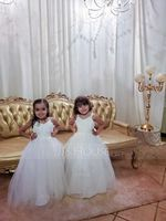 Ball-Gown/Princess Floor-Length Flower Girl Dress - Tulle Lace Tulle Sleeveless V-neck With Beading Bow(s) (269238490)