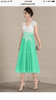 A-Line V-neck Tea-Length Chiffon Lace Cocktail Dress (016174145)