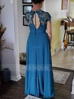 A-Line Scoop Neck Floor-Length Chiffon Lace Bridesmaid Dress With Ruffle (266254119)