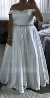 Ball-Gown/Princess Off-the-Shoulder Court Train Satin Wedding Dress With Ruffle Beading Sequins (002186391)