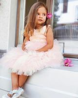 A-Line/Princess Knee-length Flower Girl Dress - Tulle Lace Sleeveless Scoop Neck With V Back (269177259)