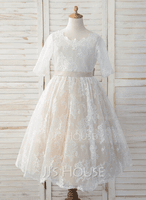 A-Line Tea-length Flower Girl Dress - Tulle/Lace 3/4 Sleeves Scoop Neck With Bow(s) (010183530)