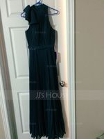 A-Line/Princess Scoop Neck Sweep Train Chiffon Evening Dress With Bow(s) Pleated (017042840)