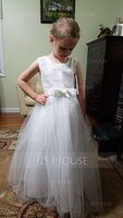 A-Line/Princess Ankle-length Flower Girl Dress - Satin/Tulle/Lace Sleeveless Scoop Neck With Bow(s) (Undetachable sash) (010130924)
