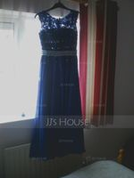A-Line/Princess Scoop Neck Floor-Length Chiffon Evening Dress With Beading Appliques Lace Sequins (017056133)