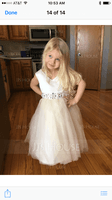 A-Line/Princess Knee-length Flower Girl Dress - Satin Tulle Sleeveless V-neck With Bow(s) Rhinestone (269177228)