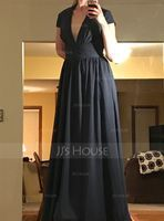V-neck Floor-Length Chiffon Evening Dress With Ruffle (271194397)