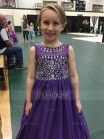 Ball Gown Floor-length Flower Girl Dress - Chiffon Sleeveless Scoop Neck With Beading (Petticoat NOT included) (010094146)
