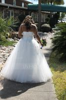 Ball-Gown Sweetheart Floor-Length Tulle Wedding Dress With Ruffle Sash Beading Appliques Lace Flower(s) (002013803)