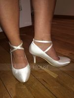 Women's Satin Stiletto Heel Closed Toe Pumps With Buckle (047048020)