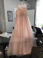 A-Line/Princess V-neck Floor-Length Tulle Junior Bridesmaid Dress With Ruffle Beading Sequins (268177131)