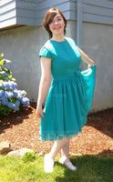 Scoop Neck Knee-Length Chiffon Bridesmaid Dress With Bow(s) (266195742)