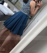 A-Line Scoop Neck Short/Mini Chiffon Homecoming Dress With Beading (300244457)