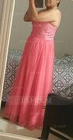 A-Line/Princess Sweetheart Floor-Length Tulle Bridesmaid Dress With Beading Sequins (007090191)