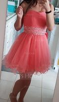 A-Line/Princess Sweetheart Short/Mini Tulle Prom Dresses With Beading Sequins (018113167)