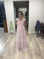A-Line/Princess V-neck Floor-Length Chiffon Lace Junior Bridesmaid Dress (268177136)