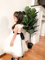 A-Line Scoop Neck Knee-Length Tulle Junior Bridesmaid Dress With Sash Bow(s) (009126263)