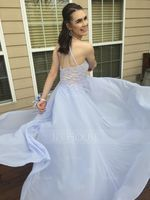 Scoop Neck Floor-Length Chiffon Prom Dresses With Beading Appliques Lace Sequins (272194610)