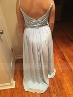 V-neck Floor-Length Chiffon Prom Dresses With Ruffle (272239526)
