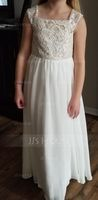 Square Neckline Floor-Length Chiffon Junior Bridesmaid Dress With Lace (268204977)