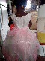 A-Line Knee-length Flower Girl Dress - Organza/Satin/Tulle Sleeveless Scoop Neck With Flower(s) (010091884)