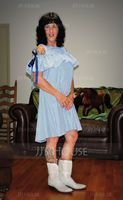 Cotton Blends With Bowknot/Stitching/Ruffles Above Knee Dress (199131308)