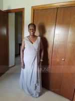 A-Line V-neck Floor-Length Chiffon Mother of the Bride Dress With Beading Cascading Ruffles (008014868)