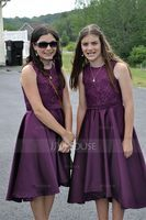 A-Line Scoop Neck Asymmetrical Satin Junior Bridesmaid Dress (009095078)