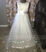 Ball Gown Floor-length Flower Girl Dress - Organza Sleeveless Scoop Neck With Bow(s) (Petticoat NOT included) (269177220)