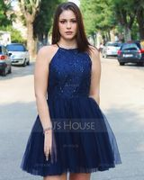 Scoop Neck Short/Mini Prom Dresses With Beading Sequins Bow(s) Pleated (272194700)