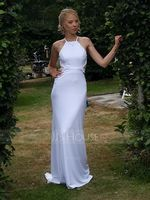 Trumpet/Mermaid Scoop Neck Sweep Train Stretch Crepe Evening Dress (017077821)