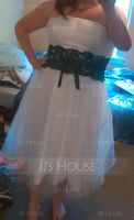 Ball-Gown Strapless Tea-Length Tulle Wedding Dress With Lace Sash Beading Bow(s) (002011609)
