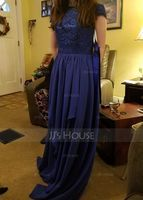 A-Line Scoop Neck Floor-Length Chiffon Lace Bridesmaid Dress With Bow(s) Cascading Ruffles (007057698)