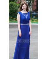 A-Line/Princess Scoop Neck Floor-Length Chiffon Prom Dresses With Beading Sequins (018041108)