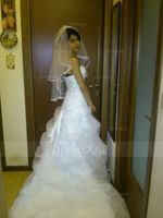 Two-tier Elbow Bridal Veils With Ribbon Edge (006005419)