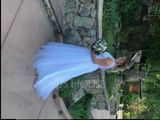 A-Line/Princess V-neck Sweep Train Tulle Wedding Dress (002104625)