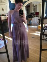 A-Line/Princess Scoop Neck Floor-Length Chiffon Bridesmaid Dress With Bow(s) (007090145)