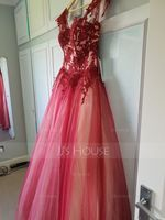 Ball-Gown Sweetheart Sweep Train Tulle Prom Dresses (018138375)