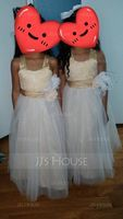 A-Line Ankle-length Flower Girl Dress - Satin/Tulle/Lace Sleeveless Square Neckline With Beading/Flower(s) (010071495)