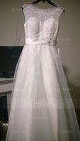 Ball-Gown/Princess Scoop Neck Sweep Train Organza Lace Wedding Dress With Beading Sequins (002054362)