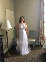 Scoop Neck Floor-Length Tulle Wedding Dress (265193294)