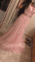 Trumpet/Mermaid Sweetheart Sweep Train Tulle Lace Prom Dresses With Beading Sequins (018105553)